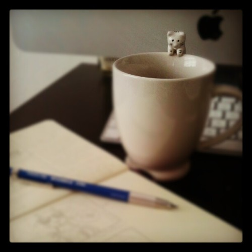 Cat on a mug watching me storyboard. #storyboarding #coffee all day #illustration #storybook