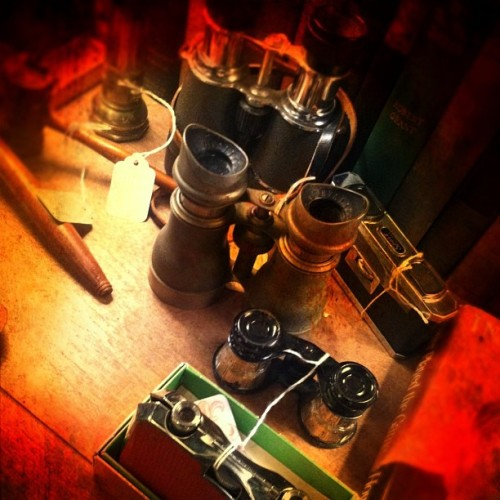 Antique binoculars … #iphone #photo #photography #camera #binoculars #books #hammer #wood #antique #vintage #retro #shop #store #classic #dark #mood #color #stilllife #gritty #closeup #beauty #glengreen #art #pitt #pittsburgh #pa #pennsylvania #us #usa #america