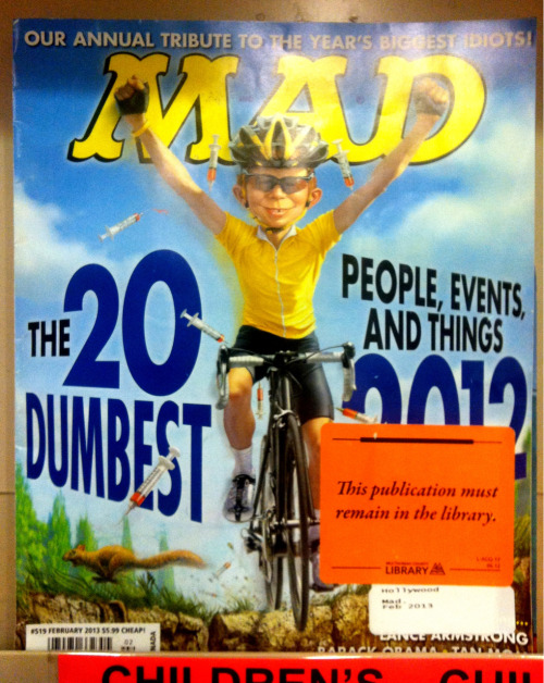 MAD magazine gives Lance an award. How nice!