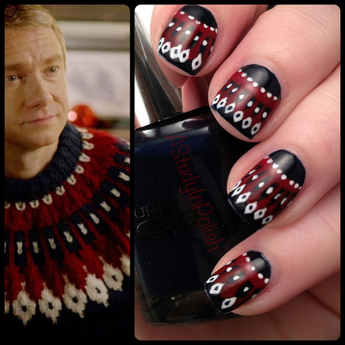 astudyinpolish:  Christmas sweater nails inspired by John Watson. That jumper is faaabulooous~