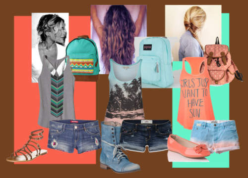 Summer Daze by horsiegirl featuring a backpack bagPatagonia racerback shirt / Billabong beach tank top, $44 / Billabong racer back tank top / Scotch & Soda dip dyed shorts, $120 / Hollister Co. low rise shorts / Peek tribal print shorts / Strap sandals, $165 / L.K.Bennett ballerina flat shoes, $165 / Steve Madden stacked heel / Backpack bag / JanSport rucksack bag / Mi-Pac backpack bag, $33