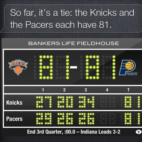 Not able to watch the rest of the gm but Siri told me so far it's a tie… WHAT!? Get outta here… #knicks #nyc #nbaplayoffs #knickstape #nba