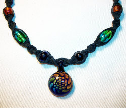 biluxi:  Rainbow Boro Black Hemp Necklace