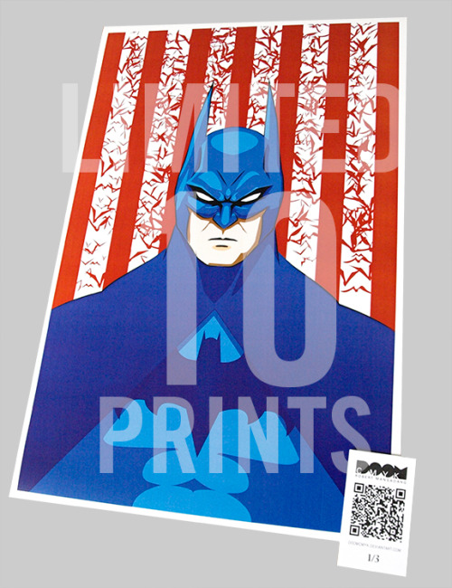 """Red, White and Batman"" aka ""United States of Batman"" Limited 10 prints: http://etsy.com/shop/DoomCMYK"