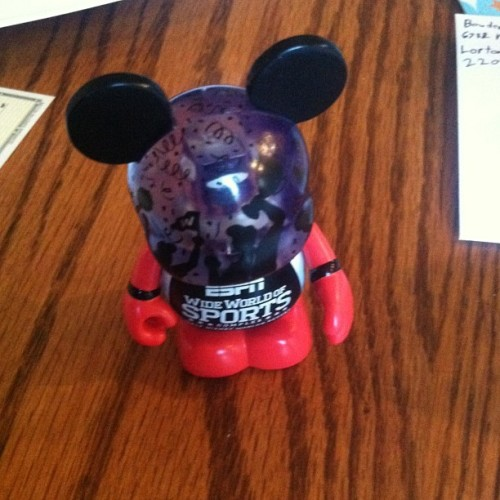 Miniature ESPN Wide World of Sports Mickey is helping me with graduation thank you cards.
