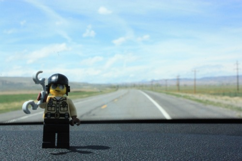 Traffic cop on the road in Wyoming #lego #roadtrip