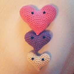 Cotton heart amigurumis, handmade for @mrlizer, for our 2nd wedding anniversary. :)