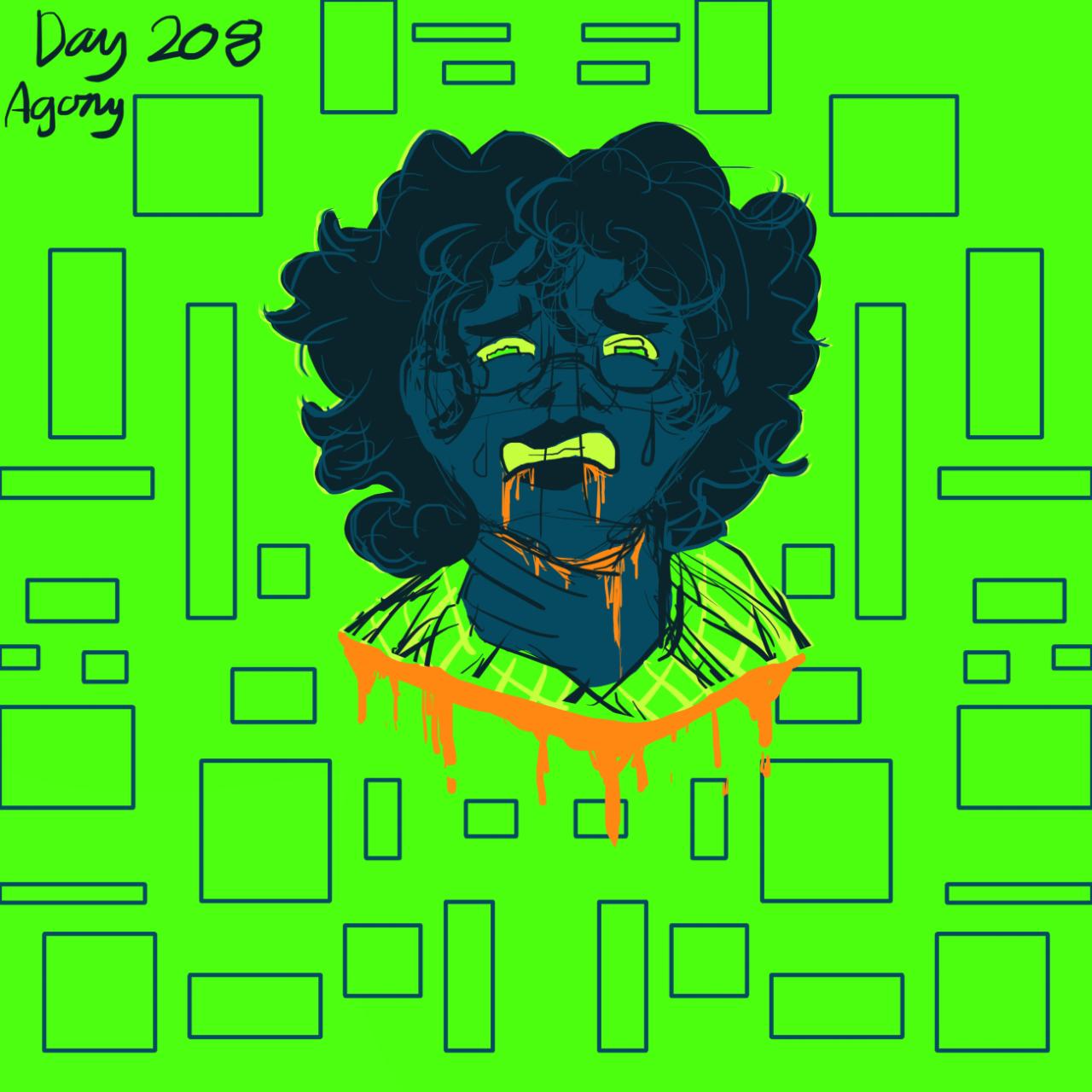 "Day 208:""Agony"" #365 art challenge  #colour pallet challenge #digital art#digital sketch#sketch#my art#Grim draws#my oc #my oc art  #tw bright colors #tw blood#tw death"