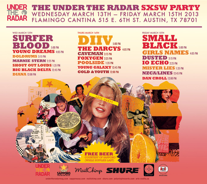 CiA @ SXSW: Wednesday, March 13Here are today's free party highlights — enjoy! Stay tuned to our Twitter feed for more party tips and reports from the field. Hipstamatic #Morning After Brunch 11am–4pm • Haus of Hipstamatic, 509 Brushy St. • RSVP required; now closedMexican food from La Condesa, coffee, mimosas, a Bloody Mary bar, a photobooth and other surprises. Badges and wristbands will get priority entry. Music by Redd Volkaert, Warren Hood & the Goods, and Quiet Company.The Warner Sound Showcase11am–6pm • The Belmont, 305 W. 6th Street • No RSVP requiredFree official showcase with performances by Fitz and The Tantrums, Bonaparte, Saints of Valory, and Ashley Monroe. Open to the public, but badges will probably get priority.Waterloo Records Day Shows11am–7pm • Waterloo Records, 6th and Lamar • No RSVP requiredToday's highlights: Tegan & Sara (2pm); Macklemore & Ryan Lewis (3pm); Robert DeLong (6pm).T-Mobile Austin House Party11am–Midnight • Papi Tino's, 1306 E. 6th St. • Free; no RSVP requiredFree tacos, giveaways, video games, screen-printing, and bands. Check out The Mowglis at 6pm and The Sheepdogs at 8:30.Consequence of Sound's Cosigns II11:30am–6pm • The Parish Underground/ Beale St. Tavern, 214 E. 6th St. • RSVP requested; still openFree beer and tea. Bands include Fort Lean, St. Lucia, The Thermals, Mac DeMarco, Chelsea Light Moving, and several others.B3SCI Presents: Day Party Takeover 11:45am–5pm • Maggie Mae's, 323 E. 6th St. • RSVP required; list still openFree drinks and popcorn. Lineup highlights:12:15 PM     Blondfire1:50 PM     Ghost Beach2:45 PM     Gold Fields3:35 PM     Wildcat! Wildcat!4:20 PM     Trails and Ways4:25 PM     The 1975Gobbler Grill Noon–5pm • 350 Trinity St. (across from the convention center, between 3rd & 4th) • RSVP requestedFree food, beer, and music.Hype Hotel Day Party: Gorilla vs. Bear & Yourstru.lyNoon–6pm • The Whitley, 3rd & Brazos • RSVP required; still openFree booze, good bands, and if you're lucky you might just score a Cool Ranch Doritos taco or two. You'll need to pick up your Hype Hotel wristband before you can go in. Wednesday's lineup includes:Noon    Empress Of1pm     Fear of Men2:00     Antwon3:00     Charli XCX3:30     John Talabot4:00     Shlomo4:30     Ryan Hemsworth5:00     DisclosureRock On Foundation Presents: Sneakers & SpeakersNoon–6pm • Club Deville, 900 Red River St. • RSVP required; still open for nowFree beer from (512) Brewing Company, complimentary cocktails from Tito's Handmade Vodka, and BBQ from Rudy's. Music by  Oh No Oh My, Feathers, Dallas Green, The Reverend Peyton's Big Damn Band, Chuck Inglish (The Cool Kids), and Stak5 (aka Stephen Jackson of the San Antonio Spurs).Paste & HGTV Present: The Stages on SixthNoon–6pm • The Stage on 6th, 508 E. 6th St.Free booze and a long lineup of bands including Guards (1pm), Foxygen (2pm), The Shout Out Louds (5pm) and many others.Under The Radar SXSW PartyNoon–6pm • Flamingo Cantina, 515 E. 6th Street • No RSVP requiredFree Sapporo beer and a good lineup including Shout Out Louds, Doldrums, Young Dreams, and Surfer Blood (5pm).Spotify House Noon–6pm, Monday–Friday • Cenote, Cesar Chavez & Medina Street • RSVP requested; still open for nowFree drinks and food for Spotify Premium members. Wednesday's music lineup: Neon Indian (DJ set), Flume, The Last Bison, and more.Bands, Beer, and Burgers Vol. 2 Noon–6:30pm • Hostelling International, 2200 S. Lakeshore Blvd. (off Riverside) • RSVP required; now closedFree local beer from Live Oak Brewing and Hops & Grain. Burgers for sale. Music by Bobby Jealousy, Burgess Meredith, and others.The Fader FortNoon–8pm • Pine Street Station, East 5th @ Brushy Street • RSVP required; list now closedFree drinks and a day full of music — might as well check it out today before it gets insane starting Thursday. Make sure to pick up your Fader wristband on the other side of the venue before you line up to go in.Free Now! Presented by Beautiful Buzz and Deli RadioNoon–2am • Brew Exchange, 708 W. 6th St. • RSVP required; now closedFree food, drinks, and music by more than 25 bands. Wednesday's lineup highlights include Tall Ships (2pm), Ghost Beach (5:30), The Chevin (6:50); Sunbears (7:30), and tons of others.The Portland Party Noon–2am • The Grackle, 1700 E. 6th St. • No RSVP requiredFree beer from 3-4pm and free wine from 6–7pm.Midcoast TakeoverNoon–2am • Shangri La, 1016 E. 6th St. • No RSVP required Free margaritas for the first 200 people, and a lineup of more than 20 bands.LiveMusicCapitol.org Day Show Noon–2am • Frontier Bar, 2421 Webberville Road • No RSVP requiredFun lineup featuring Your Friendly Ghost @ noon, Night Panther @ 2:35, The Astronaut Suit @ 3:30, and many others.British Music Embassy1–6pm • Latitude 30, 512 San Jacinto St. • RSVP required; list looks like it's still openAlways a chill place to spend the afternoon and catch some fun bands from across the pond. Usually with some free food and drinks in the mix.Urban Outfitters Backlot Sesh1–6:30pm • Urban Outfitters, 2406 Guadalupe St. • No RSVP requiredFree beer and a lineup including Icona Pop at 6pm.Pandora Discovery Den 1pm–1am (with a break from 6–8pm) • Antone's, 213 W. 5th St. • RSVP required; list closedLineup highlights include Black Joe Lewis & The Honeybears (4pm); Chali 2NA (5:40pm); Dead Prez (11pm); and Macklemore & Ryan Lewis (midnight).Macbeth Presents Filter On Rainey Showcase2–6pm • Lustre Pearl, 97 Rainey St. • RSVP required; still open for nowMusic by Wild Feathers (2pm), Solid Gold (3pm), In the Valley Below (4pm), and !!! (5pm). SX badges get priority, so once again, early is the word of the day.DTS and Slacker Present: 2013 Filter On Rainey Showcase2–7pm • Clive Bar, 609 Davis St. • RSVP required; list is still open for nowAfternoon party lineup:2pm     The Neighbourhood3pm     Blondfire4pm     Guards5pm     Akron/Family6pm     Lord HuronSpotify Live Night Party7pm–?? • 1100 E. 5th St. (across the street from Fader Fort) • RSVP required; still open for nowMusic by Kendrick Lamar, Youngblood Hawke, Cazette, and Hesta Prynn.