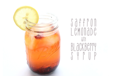 Saffron Lemonade with Blackberry Syrup 1tsp Saffron2c Lemon Juice2½ Agave5c Water + 1c Water +1c Water1c BlackberriesLots of Ice In a medium saucepot combine agave and 1c water.  Stir until agave is dissolved and begins to boil. Add the berries and lower the heat, and let simmer until the berries have softened.  Remove from heat.  Break up the saffron using your fingers in the palm of your hand and stir it into the hot mixture -  be sure not to waste any! Let the syrup sit until cooled. Combine the lemon juice and water into a tall pitcher, and add the syrup and ice. Stir well and serve immediately! (via.)