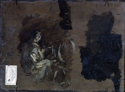 xrayart:  Thomas Eakins, sketches on the back of the canvas of Spinner, 1881