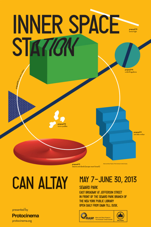 Protocinema presents Can Altay's Inner Space Station, 2013, a territorial marker in the form of a circular bench … creating a temporary inner space that is a simple gesture towards introspection. Conversation with Can Altay and Laura Raicovich on site at 6:30 pm, Friday, May 10 Read more.