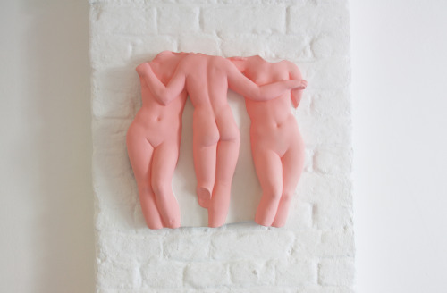Hans-Peter Feldmann Three Graces plaster relief and oil paint