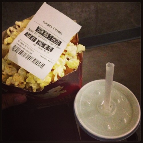 Free popcorn, free soda, free movie. #seniordays #classof2013 #ironman3 #rutgerscinema