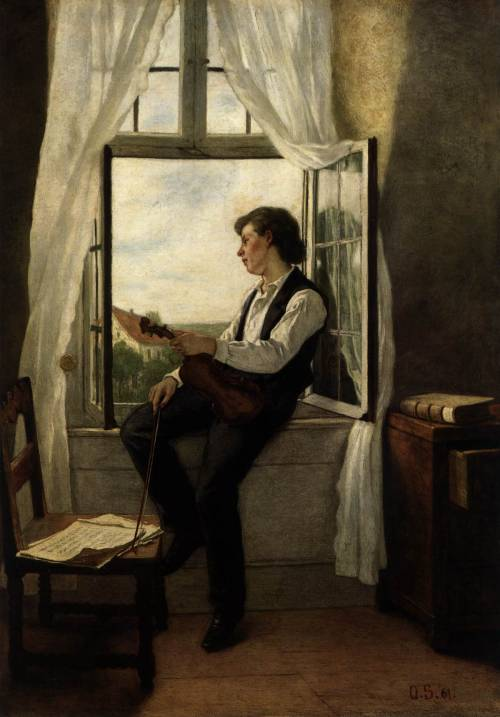 cartacciabianca:  Otto Scholderer, The violinist at the window, 1861