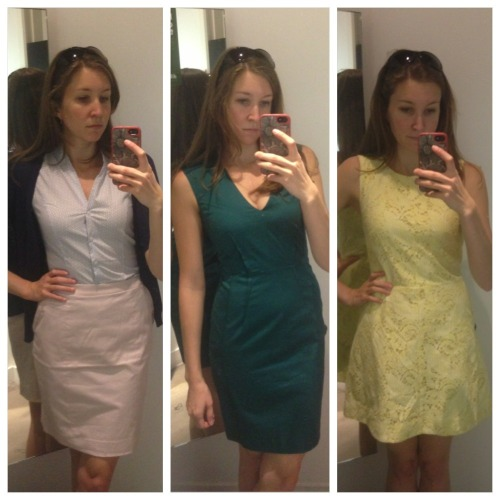 Slightly more successful business shopping trip. Didn't get the yellow dress (might go back) but did buy the green one and lots of springtime-y variations on the skirt/blouse/sweater combo.