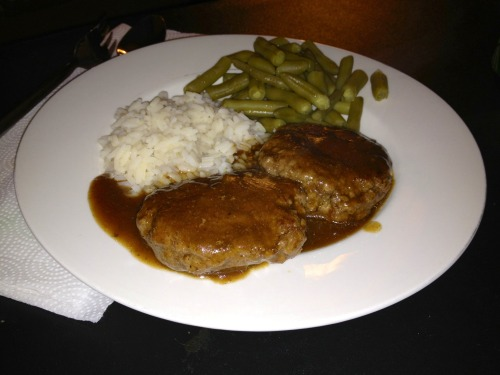 Tonight I cooked hamburger steak & gravy, rice and green beans! You can find me on the couch for the rest of the evening!