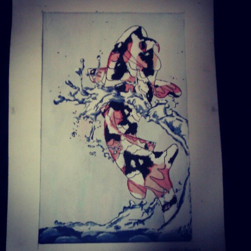 High school throwback #Koi #art #watercolor #acrylic #nathankarinen #artist