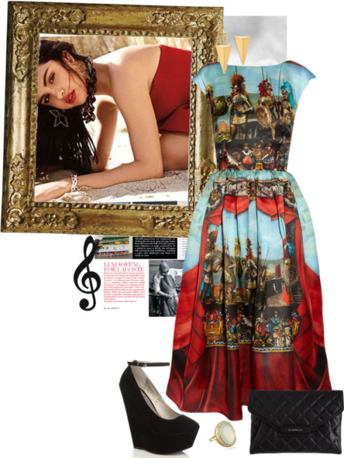 Untitled #379 by coolbitch featuring a print dressDolce & Gabbana print dress / Ankle strap shoes / Givenchy envelope clutch / Aqua ring / John & Pearl triangle earrings, $44