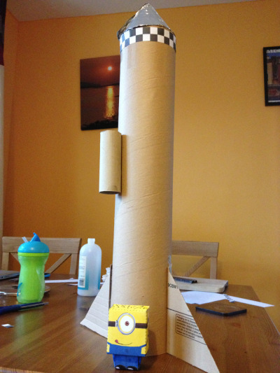 Our rocket plus papercraft Despicable Me minion is looking good!