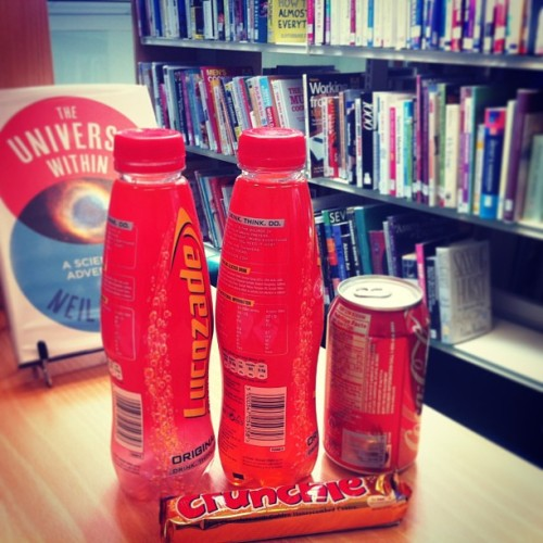 Library Snacks!!! #lovely #taste #energy #lucozade #coke #vanilla #crunchie #love #revision #lovinlife