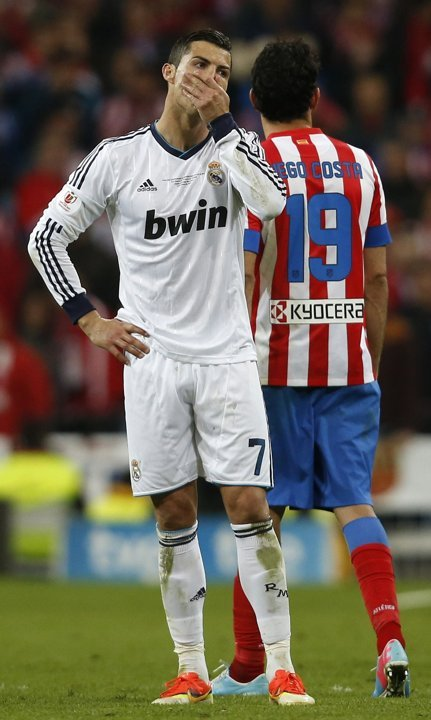 Cristiano's shocked reaction to the decisive goal :o( Copa del Rey final Real Madrid vs. Atlético Madrid 1:2, 17.05.2013(14' Cristiano Ronaldo, 36' Costa, 98' Miranda)(via Real Madrid | Photo Gallery - Yahoo! Eurosport UK)