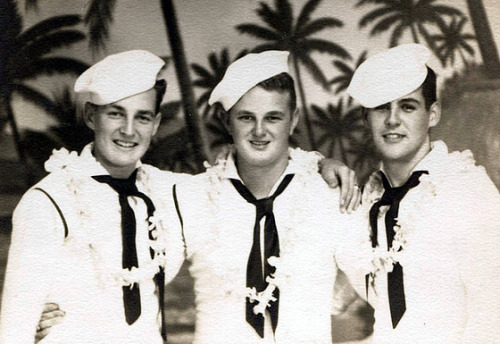 """ Three Lei'd Sailors ""  ….  WWII Era"