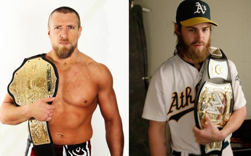 Oakland Athletics outfielder Josh Reddick. WWE wrestler Daniel Bryan. Two impressive beards. You can vote for which beard you think is best. Loser shaves his beard off.