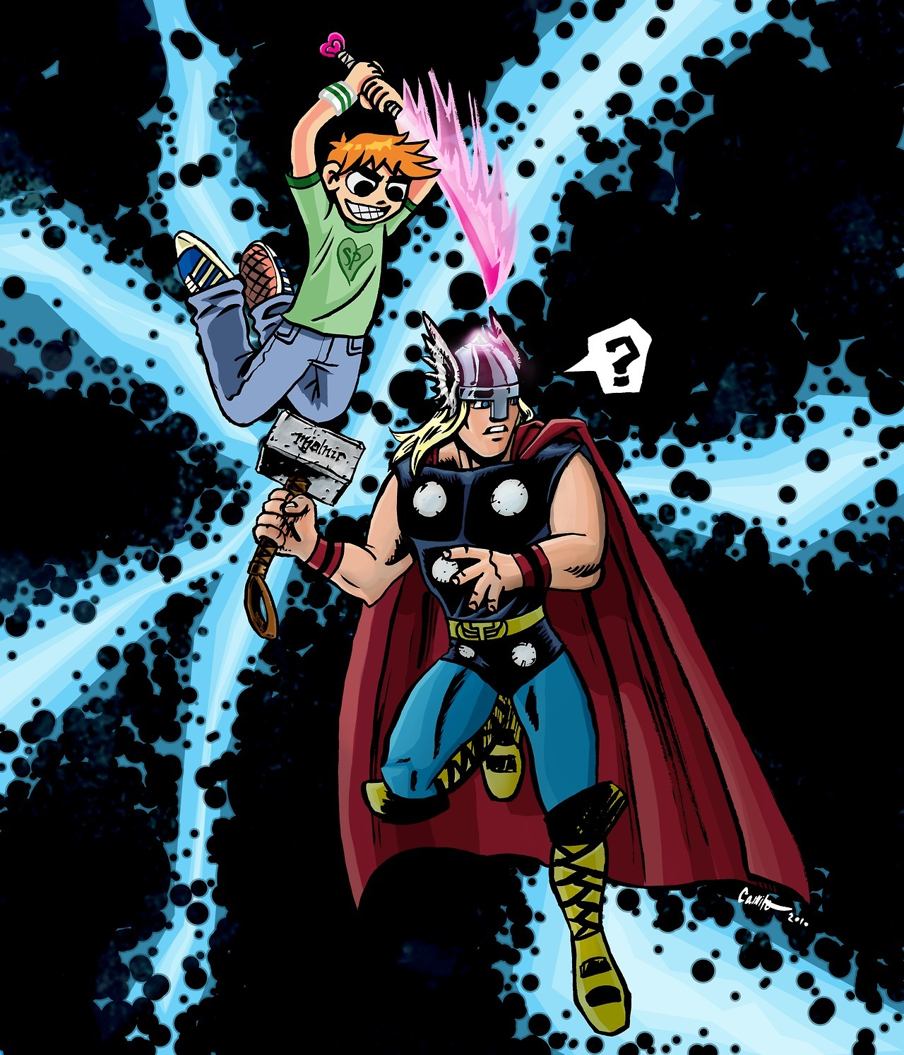 """Scott Pilgrim vs. Thor World"" by me. An older piece; commissioned by Andrew.  We thought this would be funny a couple years ago.  It took me about 2 (non-consecutive) years to finally color it."