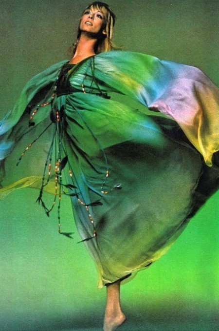 Ann Schaufuss in Chloé and Gina Fratini, Vogue UK april 1971 Clive Arrowsmith