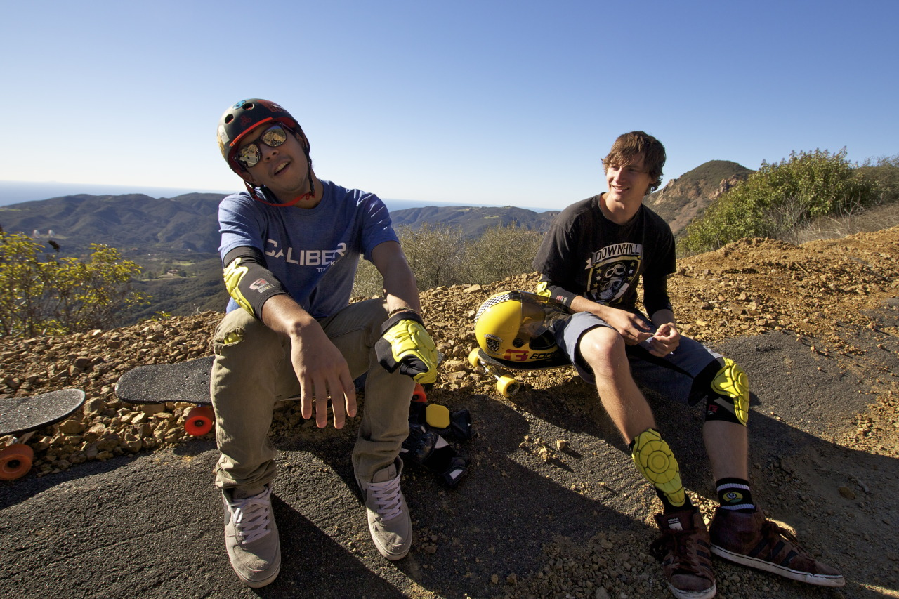 Gearing up. Ethan Cochard and Ross Druckrey strap up for their G-Form video shoot in Malibu, CA. Stay tuned for the final edit at http://facebook.com/gformprotects!
