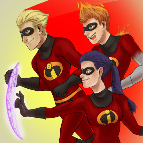 Really excited for the Incredibles 2 movie, wanted to draw the super powered kids grown up