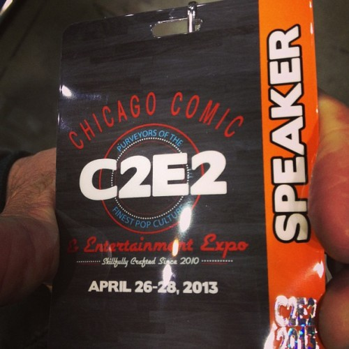 Getting ready for the beer & comics panel. #c2e2