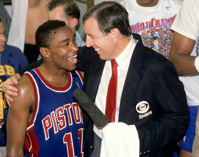 Pistons guard Isiah Thomas is interviewed by CBS' Brent Musburger after leading Detroit to the 1989 NBA Championship. (V.J. Lovero/SI) GALLERY: Isiah Thomas Through The Years