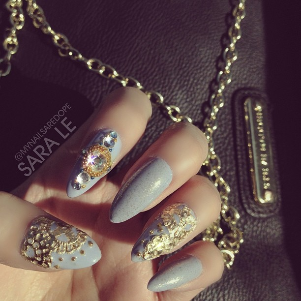 mynailsaredope:  Close up 👀 #nails #nailart #nailporn #dope #love #fashion #gold #mynailsaredope