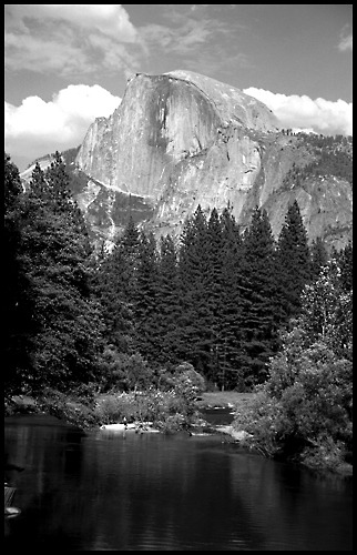 Half Dome and the Merced River Yosemite National Park, California Nikon FE and Plus X Pan Photography by Harry Snowden
