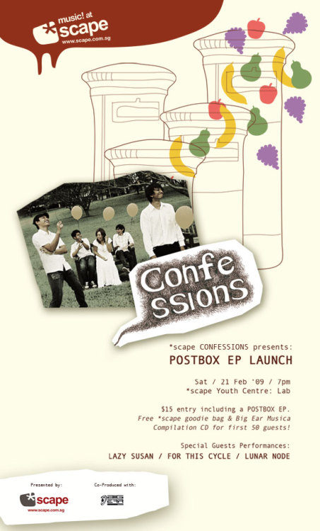 Postbox EP LaunchSaturday 21 Feb, 7pm at *scape$15 entry+EPWith guest performances by The Lazy Susan, For This Cycle, and Lunar Node It's Postbox's EP launch! They are really tight and if you like upbeat indie pop or even if you don't I guarantee it will be fun times. Check out them MySpaces for a preview. Butttttttt I can't make it because I already have an appointment on Saturday to play Guitar Hero and drink lots of beer and eat roast duck pizza.