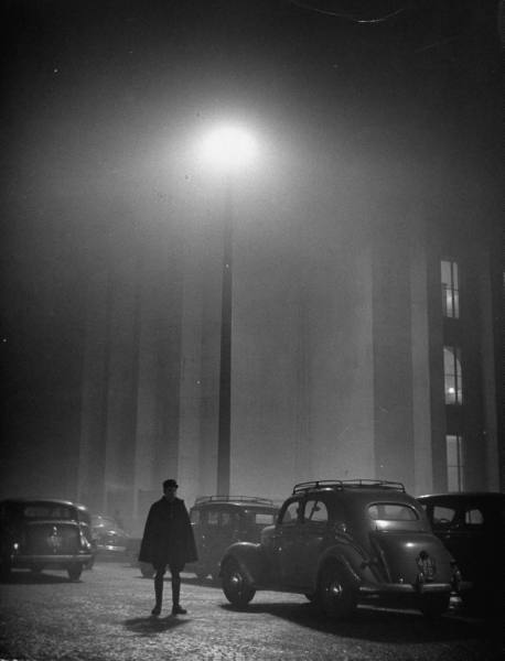 Paris in the fog, 1948. Photo by Yale Joel. via the LIFE photo archive hosted by Google