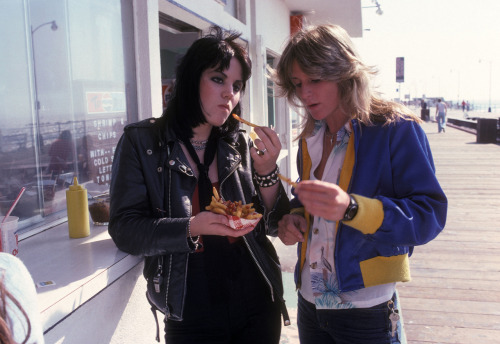 NO ONE HAS EVER SEEN THIS PHOTO BEFORE! I took this photo of Joan Jett and Sandy West of The Runaways on the Santa Monica pier in 1977. I was always hustling their photos to the Japanese magazines. Sandy will be missed. Do you like these photos?