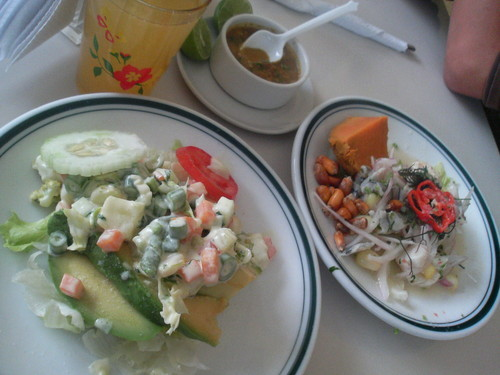 pueblo libre fancy food court: ceviche and a really good stuffed avocado appetizer…