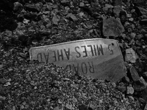 A sign in the creek bed down from my house.