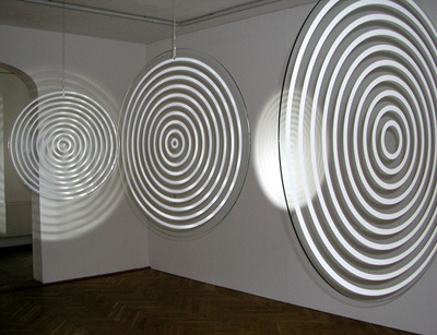 "Op Art Revisited Selections from the Albright-Knox Gallery. Image, Olafur Eliasson, Tripe Ripple, 2004. ""The foundation of Op art can be traced to the German artist, mathematician, and educator Josef Albers who, beginning in the 1930s, was one of the first artists to explore the psychological effects of color and space and consider how they react with one another when processed by the human eye."" via Exhibitions at the Albright-Knox Art Gallery"
