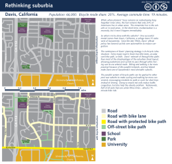 The future of suburbia. Suburbia's Achilles' heel is its auto-dependency.  Curing it in the long term will require a major reworking of the modern suburb, but this long-term fix simply isn't feasible in the short run.  What can be done, however, is to redesign the suburbs to accommodate bicycles.