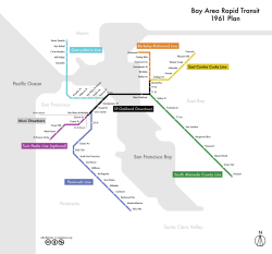 BART 1961 Plan. One of the little-known things about the original BART system is that it was only half-built.  In the early 1960s, San Mateo and Marin both pulled out of the BART district: Marin because the Golden Gate Bridge directors didn't think the Bridge would carry a pair of tracks, and San Mateo because local merchants were afraid of losing shoppers to San Francisco.