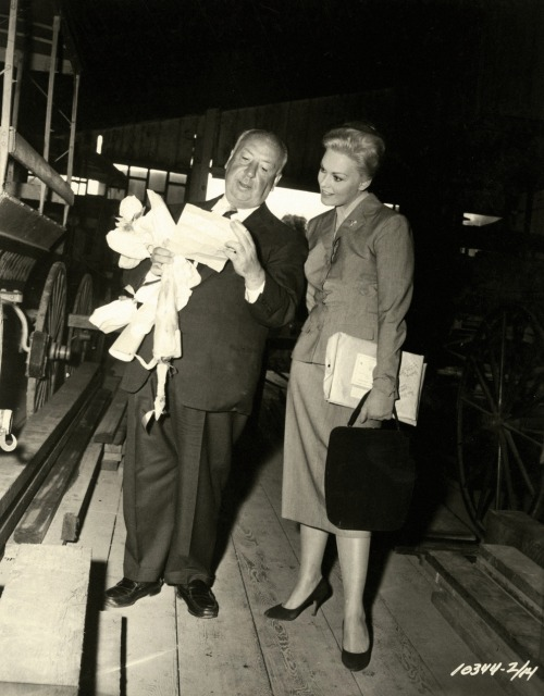 "Kim Novak & Alfred Hitchcock on the set of Vertigo (1958) On Kim Novak's performance: ""You think you're getting a lot. You're not. It was very difficult to obtain what I wanted from [Kim Novak] because her head was full of her own ideas. But as long as I'm pleased with the result…In any case, the role was intended for another actress, Vera Miles. We were ready to begin filming…when, instead of seizing the opportunity of a lifetime, Vera Miles became pregnant. I ask you! I was offering Vera Miles a big part, the chance to become a beautiful, sophisticated blonde, a real actress. We'd have spent a heap of dollars on it, and she has the bad taste to get pregnant. I hate pregnant women, because then they have children."" -Alfred Hitchcock  ""I don't know if he ever liked me. I never sat down with him for dinner or tea or anything, except one cast dinner, and I was late to that. It wasn't my fault, but I think he thought I had delayed to make a star entrance, and he held that against me. During the shooting, he never really told me what he was thinking. I know that Hitchcock gave me a lot of freedom in creating the character, but he was very exact in telling me exactly what to do. How to move, where to stand. I think you can see a little of me resisting that in some of the shots, kind of insisting on my own identity."" -Kim Novak"