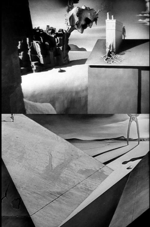 Stills from the Salvador Dalí-designed dream sequence in Spellbound (1945, dir. Alfred Hitchcock)