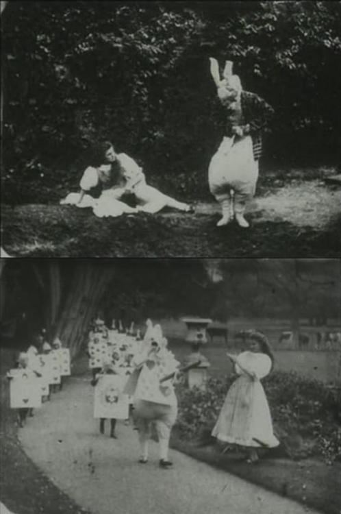 Stills from Alice in Wonderland (1903, dir. Cecil Hepworth, starring May Clark), the first filmed version of Lewis Carroll's tale. When it was first released in 1903, it was a then astonishing 12 minutes long. Unfortunately, the film was not well preserved and only about 9 minutes of it remain intact. The film can be seen here.