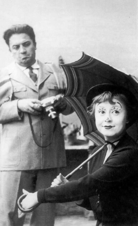 Federico Fellini & Giulietta Masina on the set of La Strada (1954, dir. Federico Fellini)  Is [your wife, Giulietta Masina] a good actress, in your opinion? Federico Fellini: Excellent. I think she would have interested me as such even if she hadn't been my wife. Her mimicry, for example, and that little round face which can express happiness or sadness with such poignant simplicity. That little figure, with its tenderness, its delicacy, fascinates me no end. Her type is crystallized, even stylized for me. As an actress, she represents a special type, a very specific humanity.