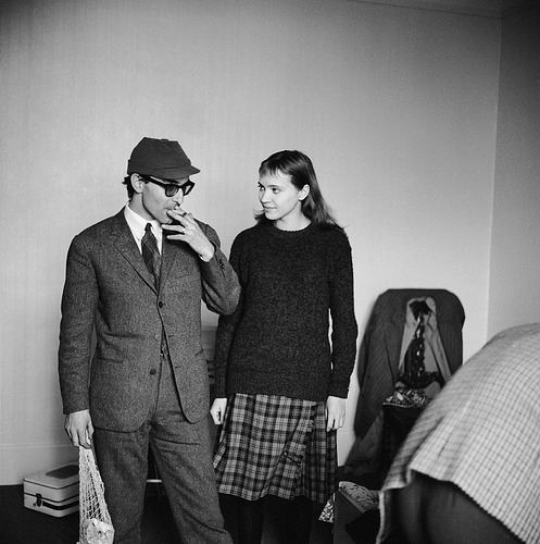 "Anna Karina & Jean-Luc Godard on the set of Bande à part (1964, via getty) An Inauspicious Beginning: ""In 1959, Jean-Luc Godard attempted to create   publicity for his forthcoming film by publishing a gag advertisement.   Written in the style of a classified ad, it read: Jean-Luc Godard,   who has completed 'Breathless' and is preparing 'Le Petit Soldat', seeks   young woman between 18 & 27 to make her both his actress and his   friend. The prank seemed to be a smarmy attempt to use his   growing fame to seek young women in the guise of an open casting call.   In fact, Godard already had an actress in mind for the role, a young   woman who had rejected a role in Breathless - Anna Karina (the   role had required partial nudity and for this reason, Karina refused   it). Godard sent Karina a telegram asking to speak with   her about a different role in a different film, possibly the lead. She   met Godard at Beauregard's small office. She took a seat. He walked   around her several times and told her to come back the next day to sign a   contract. She asked whether she would have to get undressed. He said,  'No, it's a political film.' She said that she wouldn't know how to give   a political speech; he said, in a colossal deception, 'There aren't  any  speeches, so come sign tomorrow.' Shortly after Karina's contract was signed,   Godard's prank ad was published. The effect of this publicity stunt was   to make her casting appear to be the result of a response to the ad.   Unaware of the ad, Karina was returning to her apartment when her   concierge reported the contents of an article in France-Soir, to   the effect that Godard had met Karina through a want ad placed in a   trade journal, looking for his ""actress & soul mate"". Karina asked   the concierge what that meant. To the concierge, it meant the actress   had slept with the director to get her role. The young actress, who was   furious at what she considered a humiliating insinuation, returned to   Godard's offices in tears, ready to repudiate the contract & face   the consequences.  The next day, Godard sent her a telegram making   poetic reference to her Danish nationality – 'A character from Hans   Christian Anderson has no right to cry' – which also suggested that   through her association with him, she had embarked on a fairy-tale   destiny. She ignored the telegram; the director appeared at her door   with an enormous bouquet of roses to make amends and apologized for the   ad, which, he said, was his partner's idea. Though Karina had already signed her contract,   Godard began his effort to win her over to his cause. Karina recalled,  'He invited me to a screening of Breathless. I didn't like it  at  all. Then we had dinner together. None of this appealed to me in the   least. I was basically a little suspicious.' Nonetheless, she accepted   Godard's request that she do a screen test. Karina: 'One week later, during the screen test, he   interrogated me – 'do you like to read? Which books? Which music? And   what about boys? Do you like boys? What kind of boys?' Good Lord, what   does he want from me? I didn't want to answer. First of all, I thought   it was none of his business and besides, it seemed very strange. I was   on the verge of tears. I said to him: 'Listen, this really is none of   your business! He didn't insist.' But of course, since Godard sought to eliminate the   barrier between the personal & the artistic, between life  on-camera  and off, he would soon make it his business. -excerpted from Everything is Cinema: The   Working Life of Jean-Luc Godard by Richard Brody"