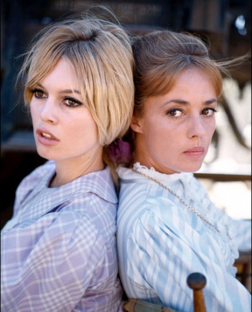 Photo of Brigitte Bardot & her friend actress  Jeanne Moreau - Viva Maria